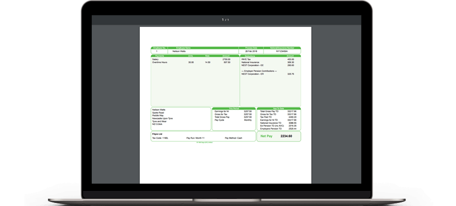 Laptop with Sage payslip on screen