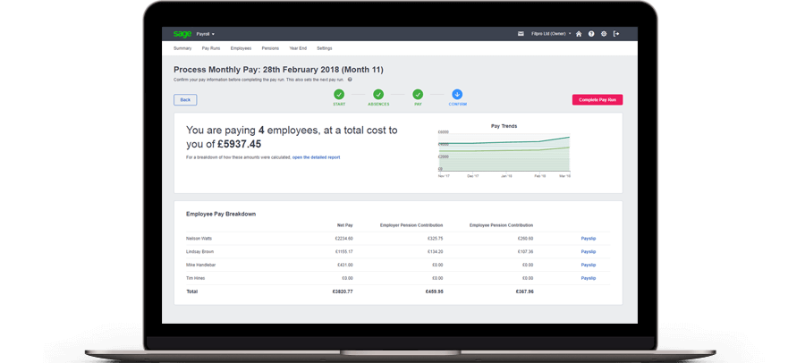 process monthly pay screenshot