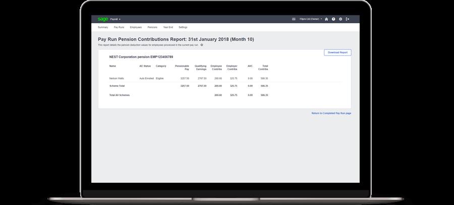 Pay Run Pension Contribution Report screenshot