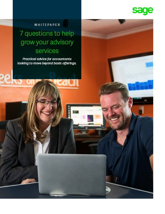 Front cover of the Sage white paper: 7 Questions to Help Grow Your Advisory Services