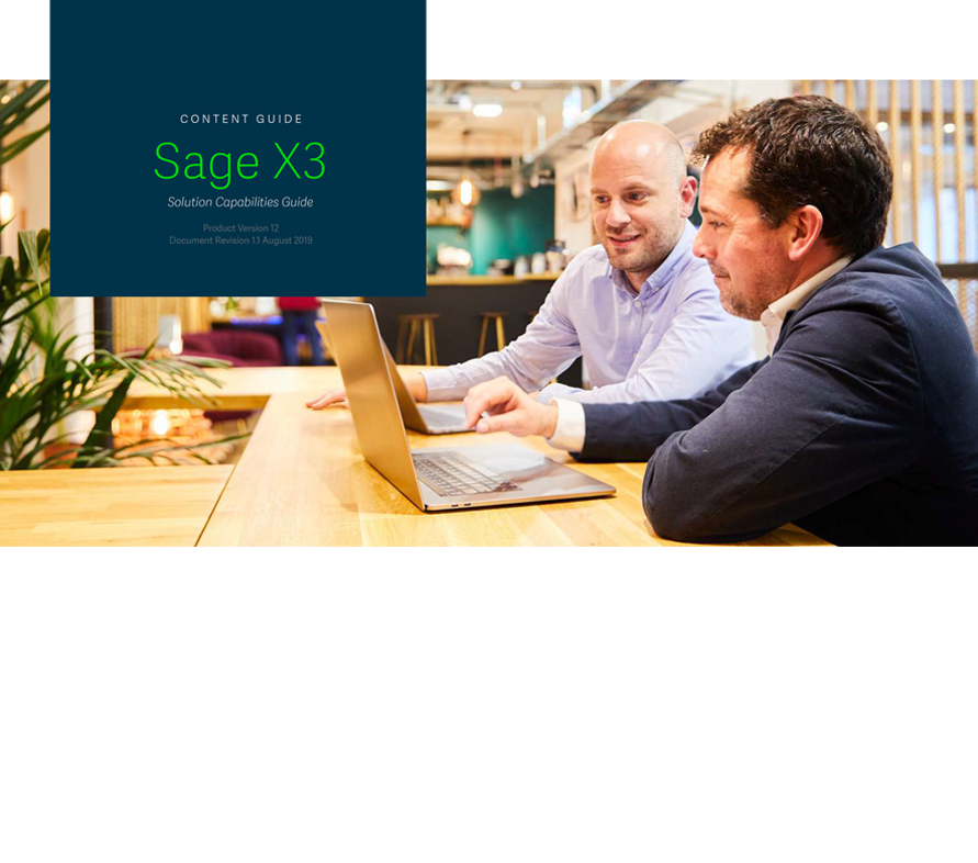 Front cover of the Sage Solution Capabilities Guide