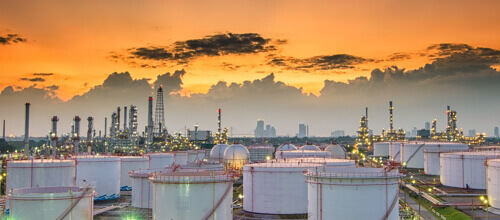 Sunset over a huge chemical plant