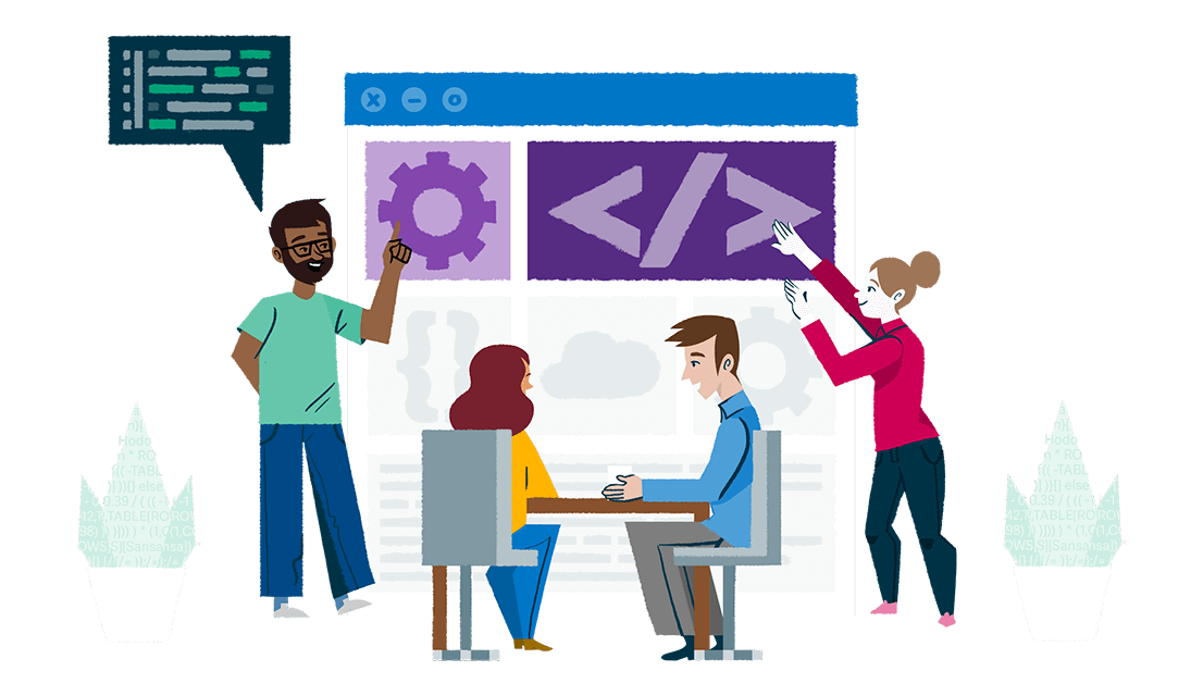 Colorful illustration of a group of people in an office working on a giant computer window