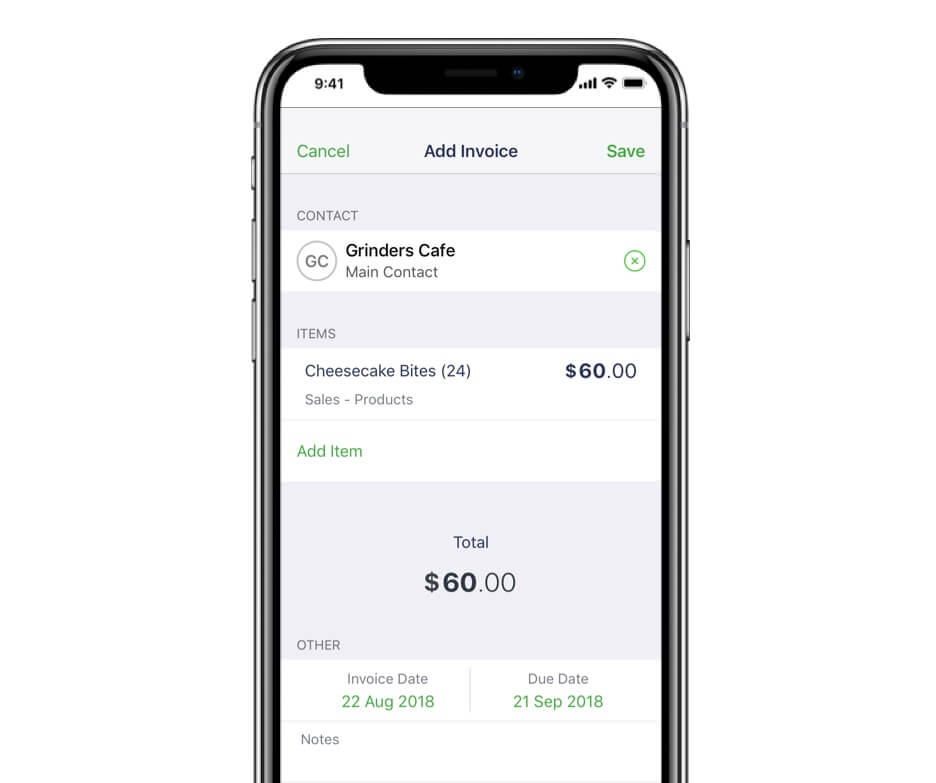 Smartphone with a Sage app invoice on the screen