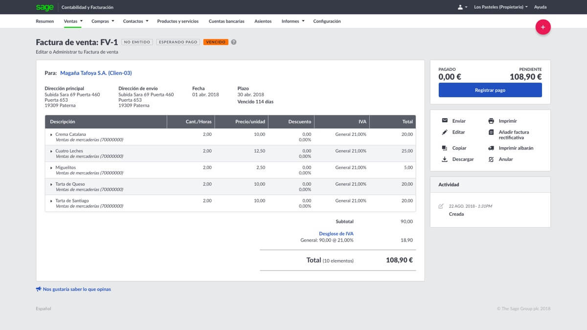 Accounting View Invoice ES